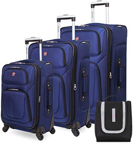 SWISSGEAR 6283 Amazon Exclusive Premium 3pc Spinner Luggage Set with Dopp Kit Bundle – Blue