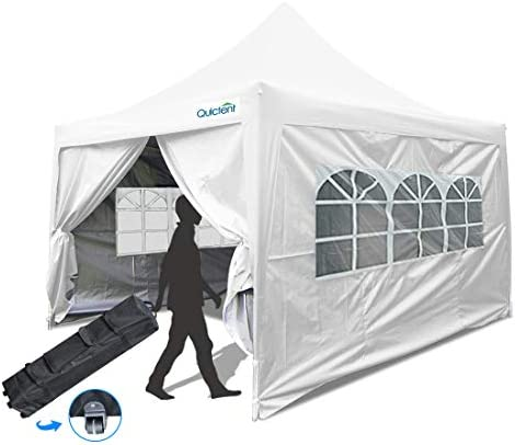 Quictent Silvox 10×10 EZ Pop Up Canopy Tent Instant Outdoor Gazebo with 4 Sides Roller Bag Waterproof White