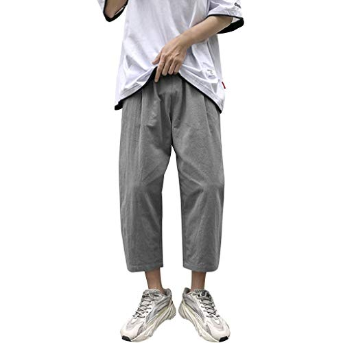hositor Mens Pants, Men's Casual Fashion Loose Pure Color Cotton and Linen Ankle-Length Pants Gray