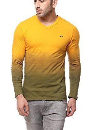 a73994f9c Gritstones Yellow Full Sleeve V Neck T Shirt GSFSOMBVNCKYELL
