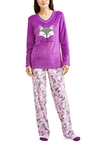 I'd Rather Be Sleeping Fox Purple 3 Piece Fleece Pajama Sleep Set w/ Socks - Medium