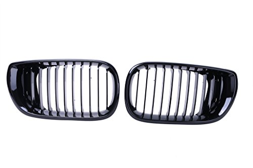 Bmw E46 Face Lift - Jade Onlines 2 Pcs Front Grills Kidney Grille Hood for BMW E46 4D LCI Facelift 2002-2005 Gloss Black