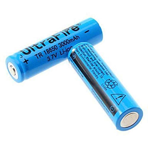 Sodoop 2Pcs 3.7V 3000mAh Li-ion 18650 Batteries, Lithium BRC Rechargeable Cylindrical Battery for Garden Solar Lights, LED Flashlight Torch,Power Tools Etc