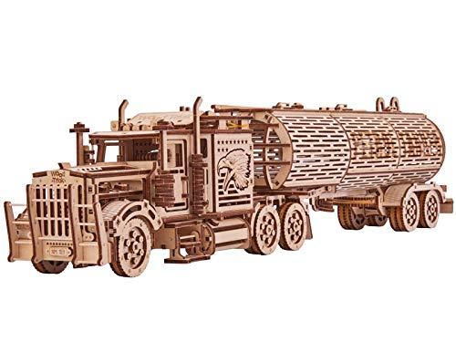 Wood Trick Mechanical Wooden 3D Puzzle Big Rig Truck + Petrol Tanker Construction Set of 2 Models