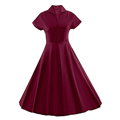 LUOUSE Vestido unicolor de Estilo 1950 Vintage retro swing vestido V027-Vino