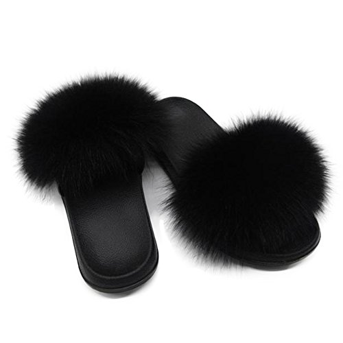 Manka Vesa Women Winter Real Fox Fur Feather Vegan Leather Open Toe Single Strap Slip On Sandals (8.5 B(M) US, Black)