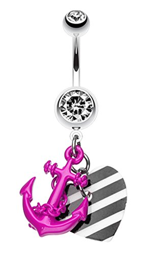 Vibrant Anchor Nautical Heart Belly Button Ring - 14 GA (1.6mm) - Purple - Sold Individually