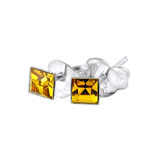 3MM Square Set Topaz Crystal NOVEMBER Birthstone 925 Sterling Silver Stud Earrings (Bullet Cartilage Earring compare prices)