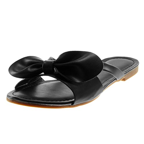 Shoes on Node 5 Sandals Mules Black Thong Knot Fashion Women's Angkorly Block cm 1 Slip Heel qwEAAHY