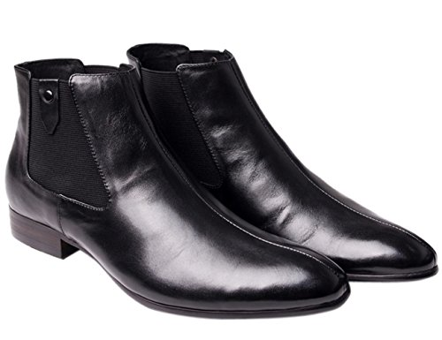 Leather Boots Ankle by Motorcycle Work duke Boots Chukka Chelsea Mens Santimon Black Boots qwtdZw