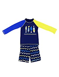 Boys Long Sleeved Swimsuit - Kids 2 Pieces Swimwear Swim T-shirt and Trunks