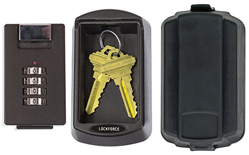 Lockforce Key Lock Box - Waterproof Case and Premium Wall Mount Kit Included - Master Key Storage Box for Outside - Perfect For Realtors, Family, Home and Rental Properties