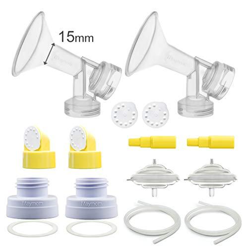 Maymom Pump Parts for Spectra S1, S2, 9 Pump; Incl Flange, Valves, Backflow Protecor, Bottle Changer (Flange 15 mm, Kit n Bottle Converter ()