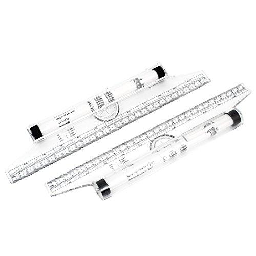 Uxcell a14112800ux0052 Multi Function Drawing Tool 30cm Squares Angles Parallel Line Rolling Ruler (Pack of 2) 12 Inch Parallel Ruler