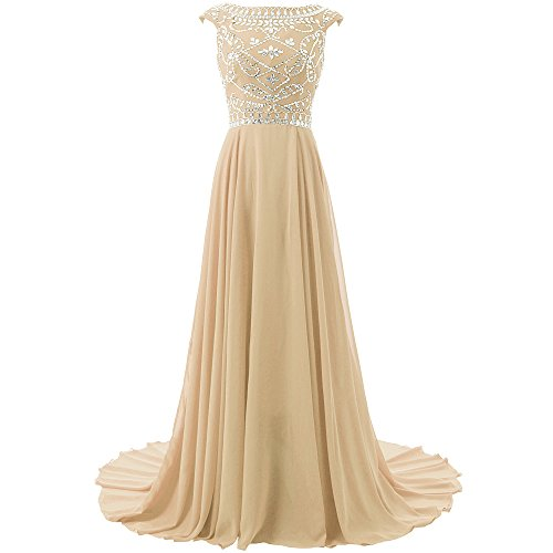 Blevla Cap Sleeve Beaded Bodice Chiffon Bridesmaid Evening Party Prom Gown Champagne US 4 ()