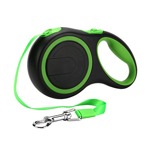 PetsKing Dog Retractable Leash, 16 foot Dog Walking Leash for Medium Large Dogs up to 110lbs, Tangle Free, One Button Break & Lock -Green by PetsKing