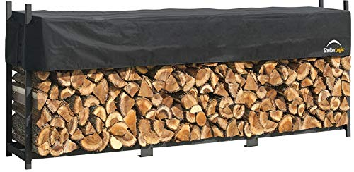 - ShelterLogic 12' Ultra-Duty Firewood Rack-in-a-Box Wood Storage with Premium Steel Frame and Adjustable Water-Resistant Cover