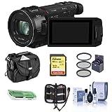Panasonic HC-WXF1K 4K UHD Camcorder, 24x Leica Dicomar Lens, Bundle 32GB SDHC Card, Video Bag, 62mm Filter Kit, Cleaning Kit, Memory Wallet, Card Reader