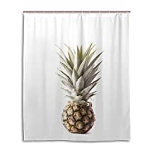 """SUABO Polyester Waterproof Fabric Shower Curtain Decorative Bathroom Curtain with 12 Hooks 60""""(w) x 72""""(h) Inch, Pineapple Pattern"""
