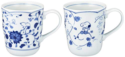 Anniversary Plate Japan - Snoopy Peanuts Blue and White Kanesho Pottery Pair Mug 630740(Japan import)