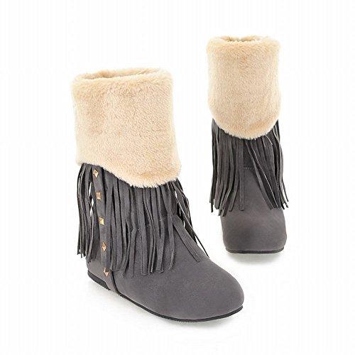 Mee Shoes Damen flach Quaste Nubukleder Stiefel Grau