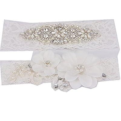 "TRLYC 2""Wide*20""Length 2016 New White Wedding Garter White Bridal Lace Garter"