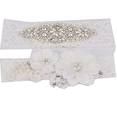 TRLYC 2 Wide*20 Length 2016 New White Wedding Garter White Bridal Lace Garter
