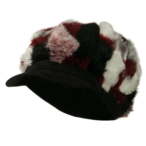 - Faux Fur Suede Bill Newsboy Hat - Red Combo OSFM
