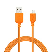 EZOPower Extra Long 10ft Orange Micro-USB 2in1 Sync and Charge USB Data Cable for Samsung, HTC, LG and Other Smartphone