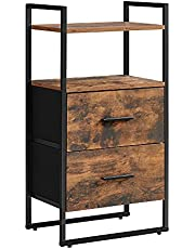 SONGMICS Nightstand, Side Table, Dresser Tower with 2 Fabric Drawers, Storage Shelves ULGS103B01