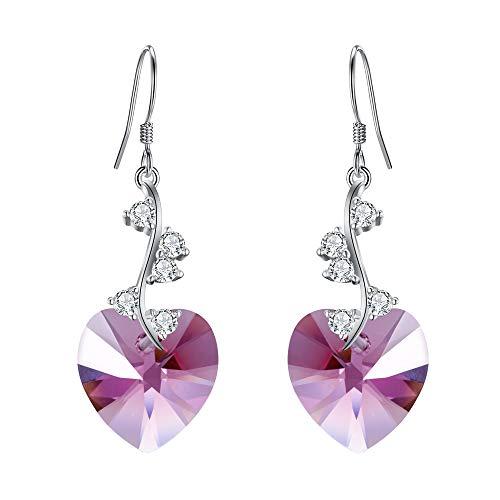 (EleQueen Women's 925 Sterling Silver Swarovski Crystal Elements Love Heart French Hook Dangle Earrings Rose Quartz )