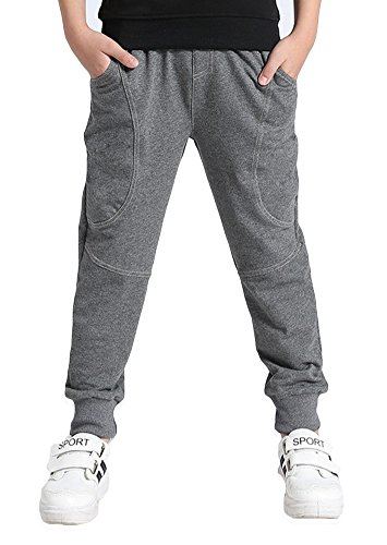 Boy's Cotton Sweatpants Adjustable Waist Jogger Pants Trousers In Basic Colors Gray 8 - School Kids Sweatpants