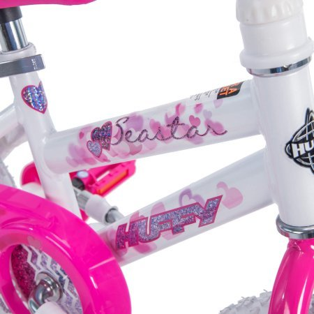 Huffy 12'' Sea Star Girls' EZ Build Bike,Comes with Easy-to-Use Coaster Brake and Wide Training Wheels,Fun Decorative Pattern Accented with Hearts and Glitter,Pearl White Frame,Hot Pink Fork,Great Gift by Generic (Image #3)