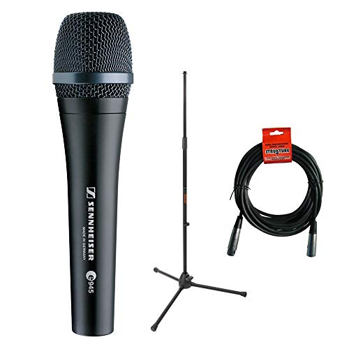 Sennheiser e945 Supercardioid Dynamic Handheld Vocal Microphone with Tripod Microphone Stand & 20' XLR Cable ()