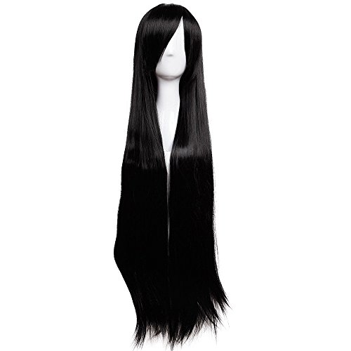 Black Light Dance Costumes (40 Inch Long Wavy Curly Anime Cosplay Wigs with Bangs Japanese Kanekalon Heat Resistant Synthetic Hair for Women Girls Halloween Costume 10 Colors(Black))