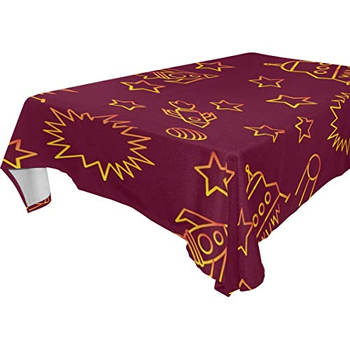(ZOMOY Decor Tablecloth Space Star Spaceship Unidentified Flying Object Multicolor Rectangular Table Cover for Dining Room Kitchen Outdoor Picnic )