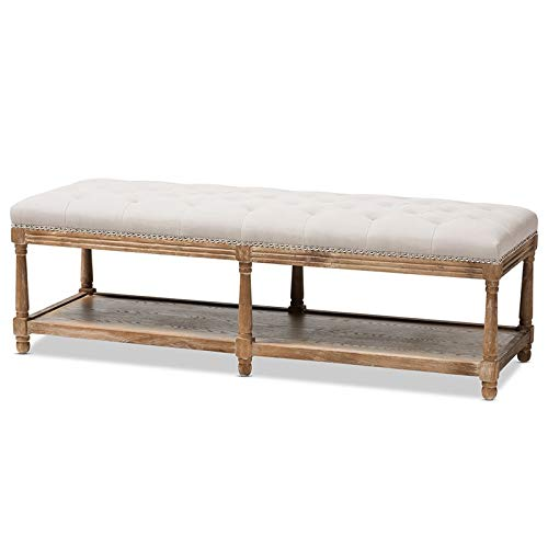 Baxton Studio Celeste Button Tufted Bedroom Bench in Beige and Oak