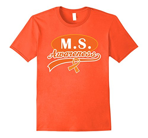 Ms Walk (Mens Multiple Sclerosis MS Awareness Ribbon Walk T-shirt Large Orange)