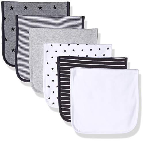 Amazon Essentials Baby 6-Pack Burp Cloth, Uni Star Stripe Neutral, One Size