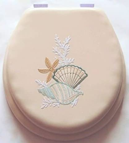 sea shell toilet seat. 17 quot  Cushioned Toilet Seat With Embroidery Design Seashell