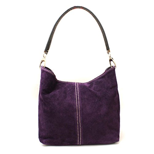 Leather Suede Italian Shoulder Tote Medium Real Slouch Hobo Purple Bag Aossta Ladies Handbag IFxqwWH