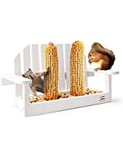 Solution4Patio White Bench Chair Chipmunk & Squirrel Feeder, Pine Wood, 2 Corn Cob Holders, Peanut or Acorn Loader Mesh Bottom, 13 in. L x 5.1 in. W x 8.3 in. H, Funny Gift & Deco, #B103A02