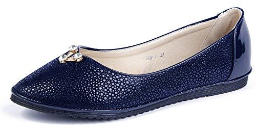 AgeeMi Shoes Mujer Sin Cordones Puntera Cerrada Plano con Decoración Metal Azul Marino