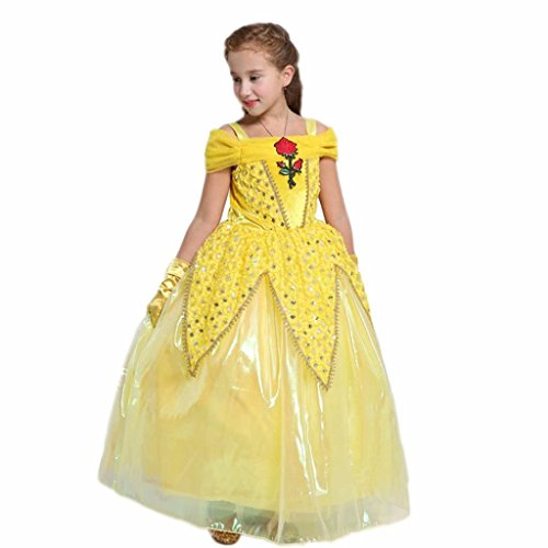 Girl Off Shoulder Sequins Princess Belle Cosplay Costume Dress]()