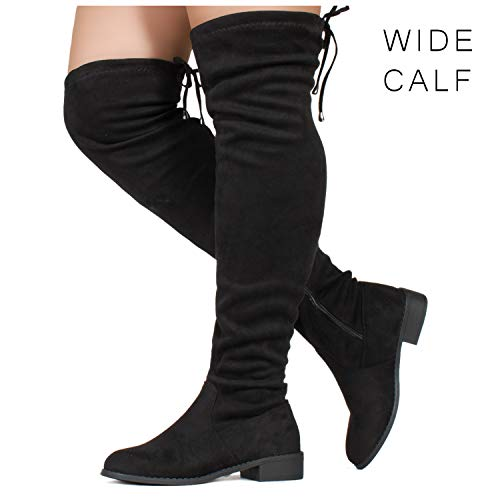 RF ROOM OF FASHION Womens Flat Low Heel Stretch Over The Knee Boots (Medium and Wide Calf) Black SU (10)