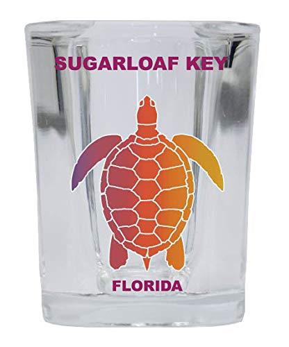 Sugarloaf Key Florida Souvenir Rainbow Turtle Design Square Shot Glass ()