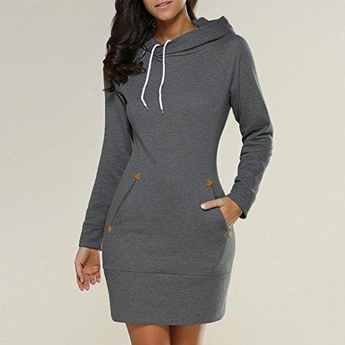 Sleeve Pocket Hoodies Jumper Dress Vest Gray High Dress Dark Sleeve Mini Sweatshirt Hooded and Sweater Ladies Long with G Collar Tian Women Long nqwxRz8Yw