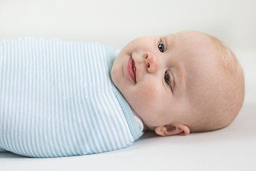 Large Product Image of Amazing Baby Swaddle Blanket with Adjustable Wrap, Set of 2, Tiny Elephants and Stripes, Pastel Blue, Small