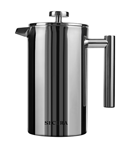 Secura Stainless Steel French Press Coffee Maker 18/10 Bonus Stainless Steel Screen