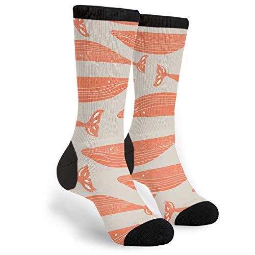 Fashion Travel Breathable Socks Textured Orange Whales Men & Women Running Casual Socks